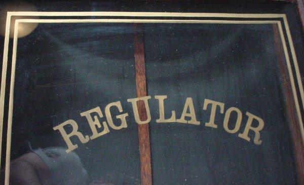 """1336: """"Waterbury Clock Co"""" Hanging Oak Regulator Clock. - 3"""