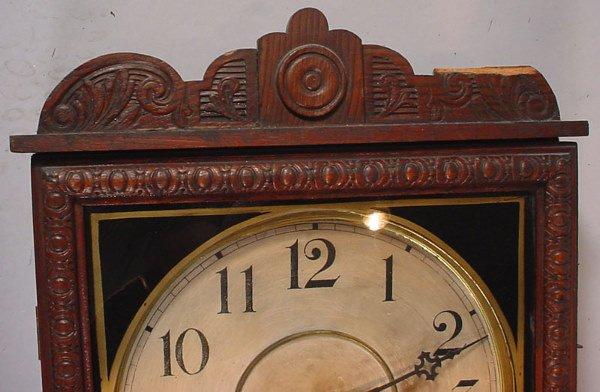 """1336: """"Waterbury Clock Co"""" Hanging Oak Regulator Clock. - 4"""