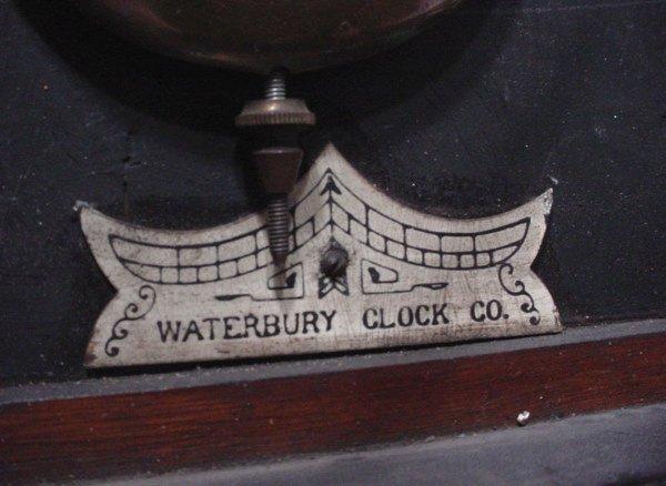 """1336: """"Waterbury Clock Co"""" Hanging Oak Regulator Clock. - 5"""