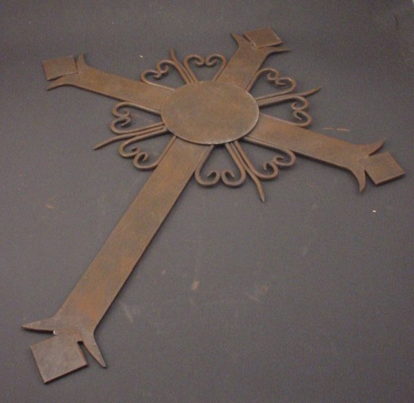 "1008A: Wrought & Welded Steel Cross. 20th c. 22""h x 18"""
