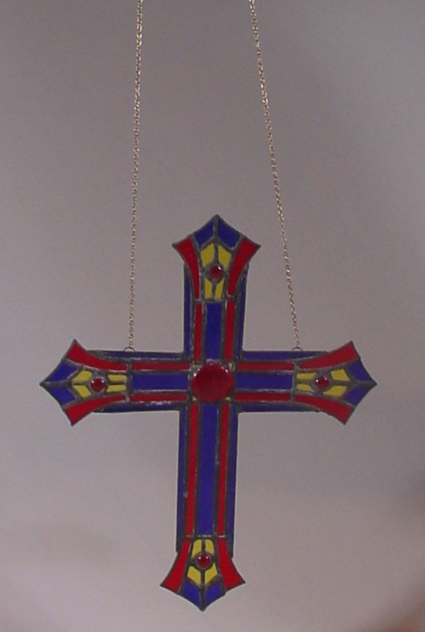 1009A: Stained & Leaded Glass Cross. 20th c. Maker unkn
