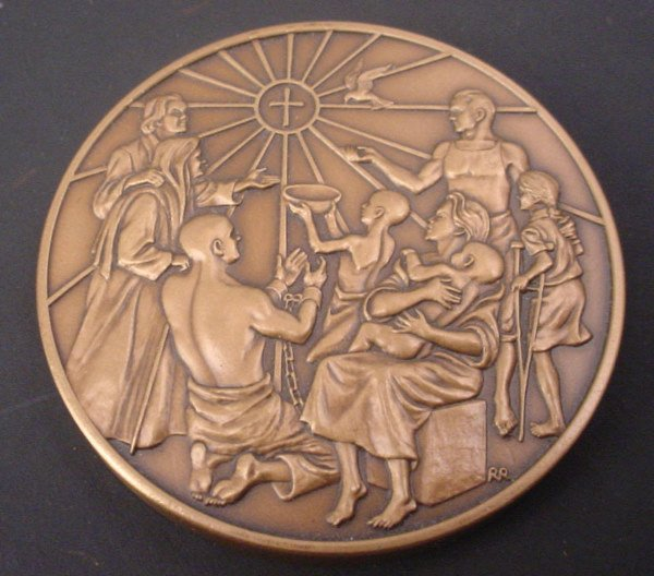 1010A: Franklin Mint Bronze Religious Medallion. Commem