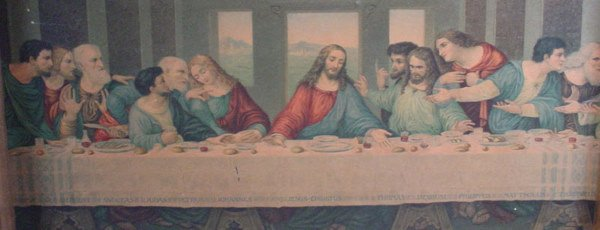 1013A: Colored Print of Davinci's Last Supper. Mid 20th