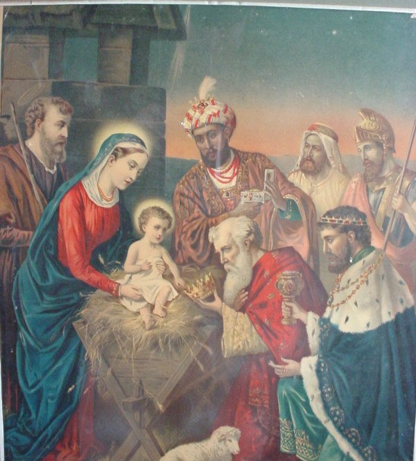 "1015A: ""Adoration of the Magi"" colored chromolithograph"