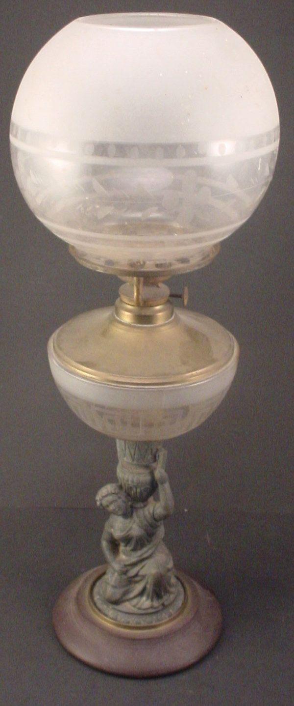 Antique Victorian Figural Oil / Kerosene Lamp wit