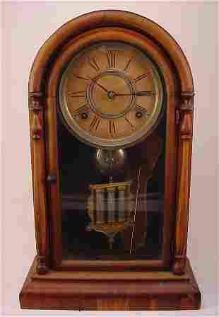Antique Cottage style Shelf Clock with brass movemen