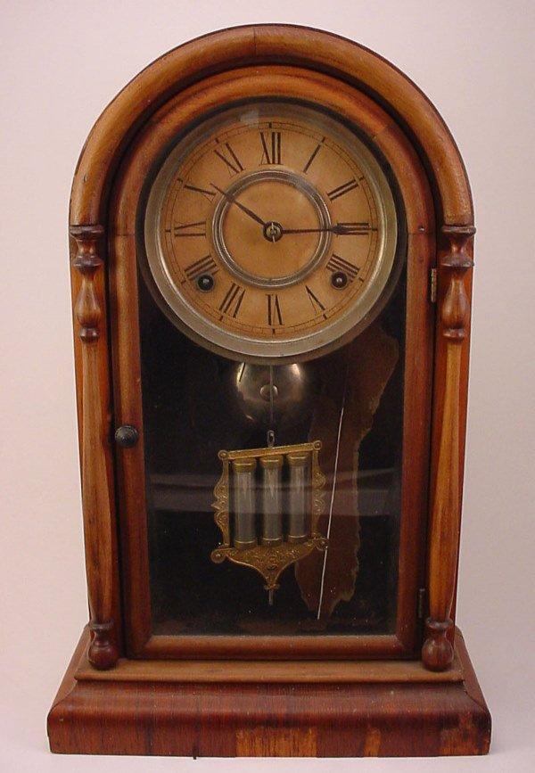 2: Antique Cottage style Shelf Clock with brass movemen