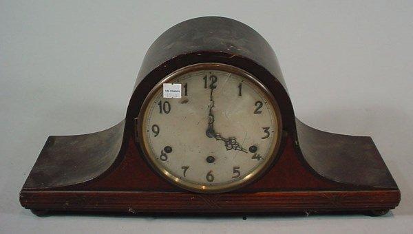 """3: """"Herman Miller Clock Co"""" Mahogany Camel back Mantle"""