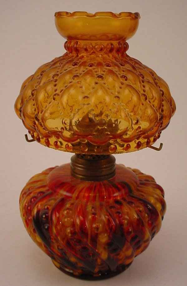 4: Antique Miniature Oil / Kerosene Lamp with Amber Gla