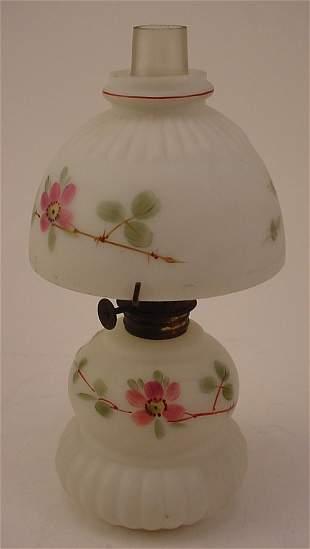 Antique Miniature Hand Painted Milk Glass Oil / Kero