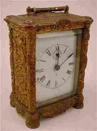 """Waterbury Clock Co"" Cast Brass Carriage Clock. Rep"