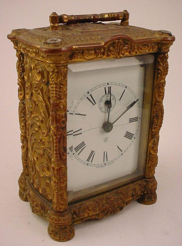 "10: ""Waterbury Clock Co"" Cast Brass Carriage Clock. Rep"
