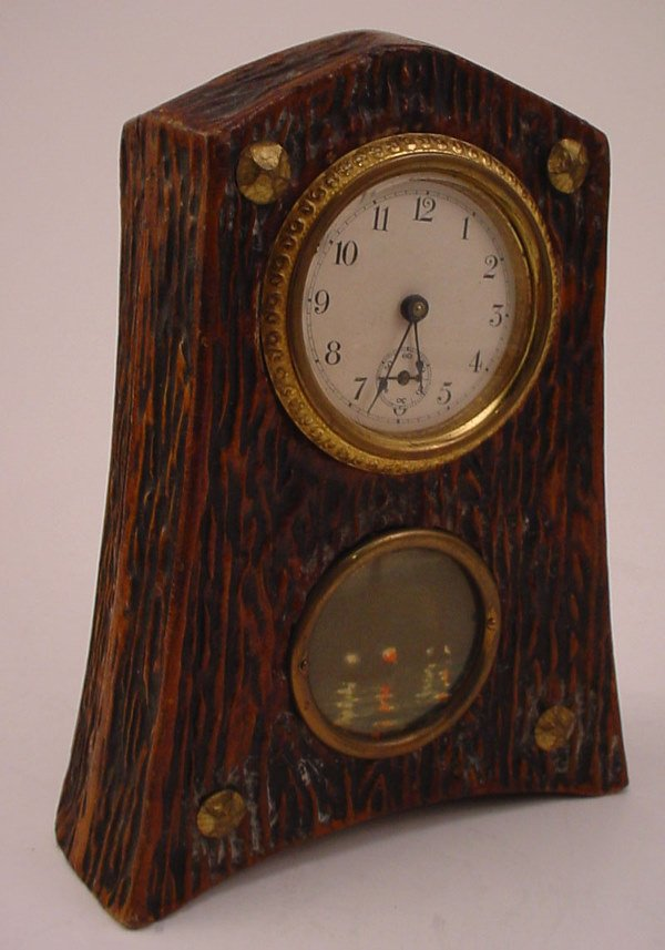 11: Antique Novelty Shelf Clock with painted decoration