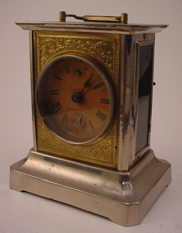 """12: German Musical Carriage style Clock. Marked """"Made i"""