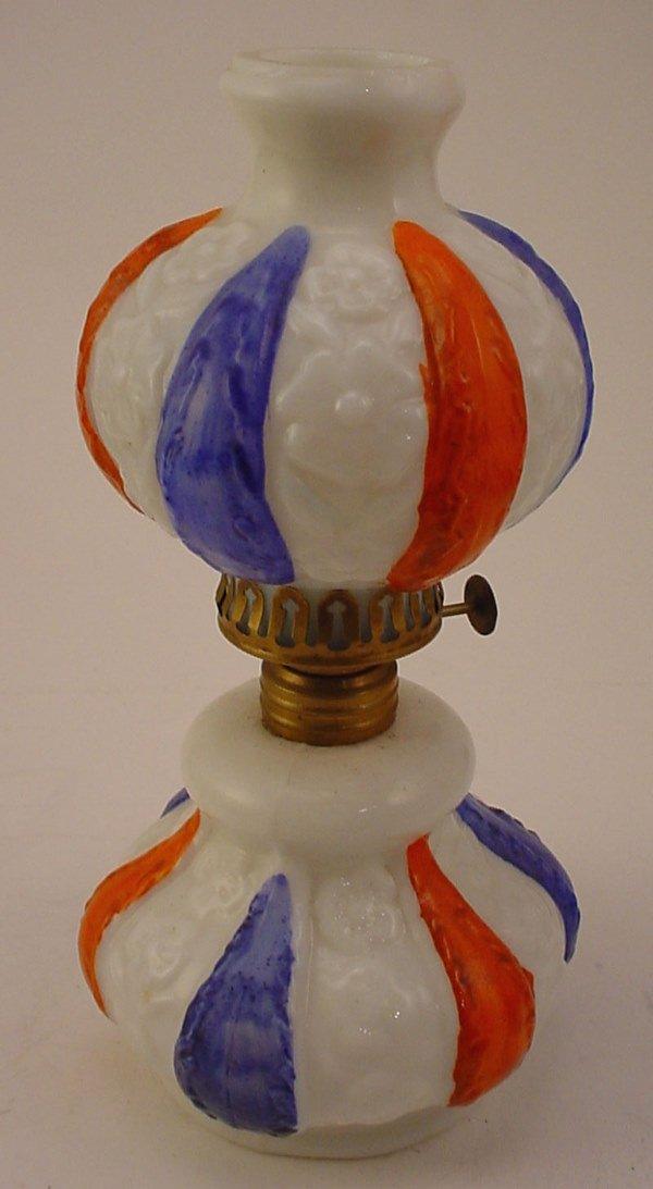 13: Antique Miniature Decorated Milk Glass Oil / Kerose