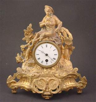 Antique Gilded White Metal Figural Mantle Rococo st