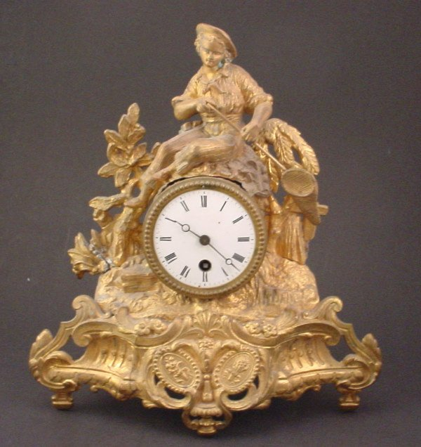 19: Antique Gilded White Metal Figural Mantle Rococo st