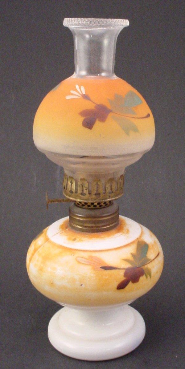 22: Antique Miniature Hand Painted Milk glass Oil / Ker