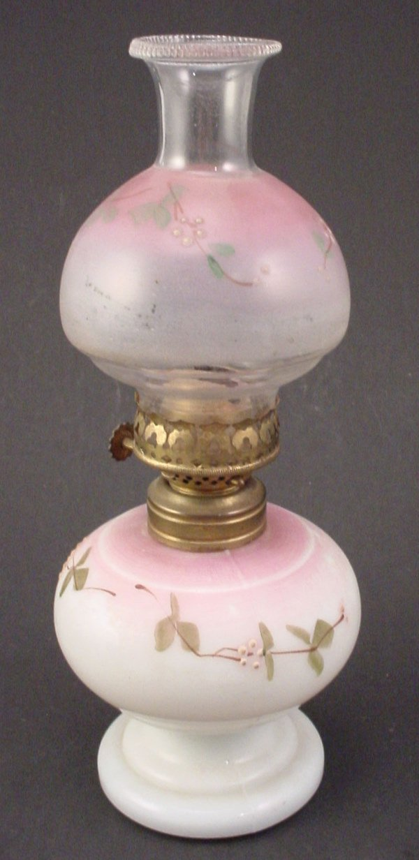 23: Antique Miniature Hand Painted Milk glass Oil / Ker