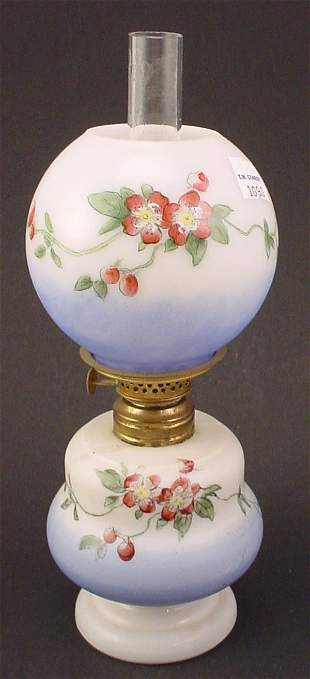 Antique Miniature Hand Painted Milk Glass Oil / Ker