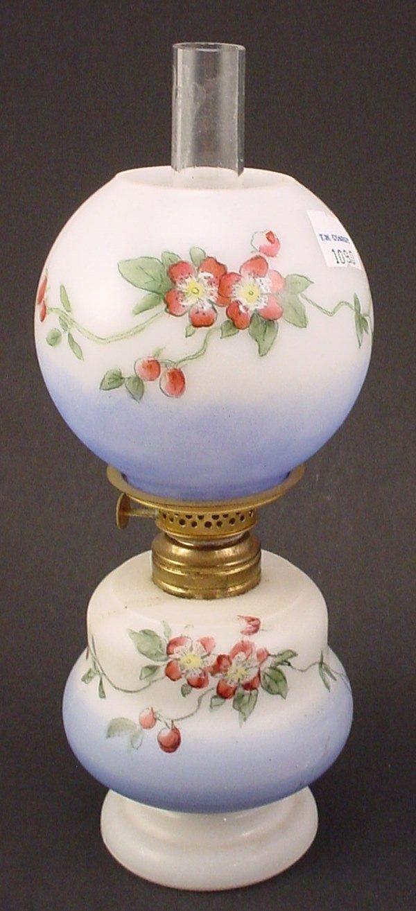24: Antique Miniature Hand Painted Milk Glass Oil / Ker