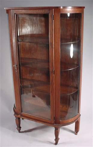 Victorian Oak Curved Glass China Cabinet in origina