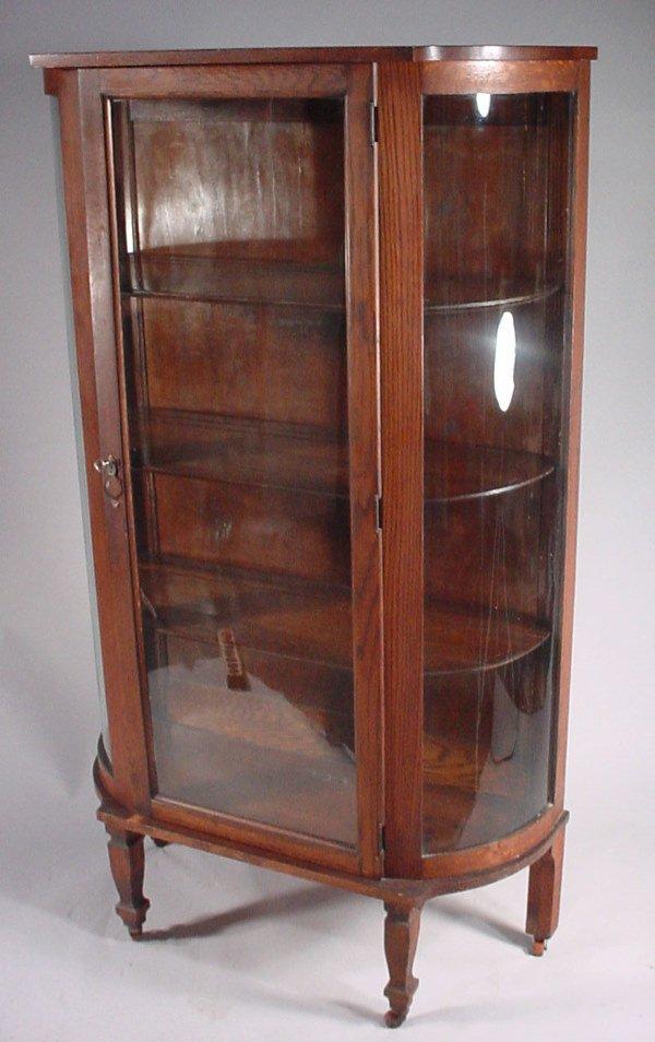 25: Victorian Oak Curved Glass China Cabinet in origina