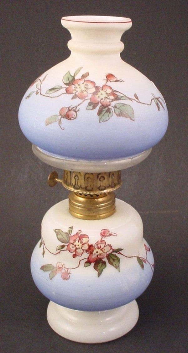 31: Antique Miniature Hand Painted Milk Glass Oil / Ker