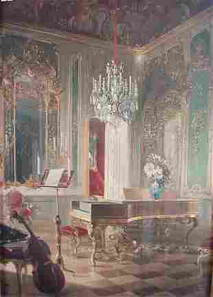 Rococo interior scene, color print. First half 20th