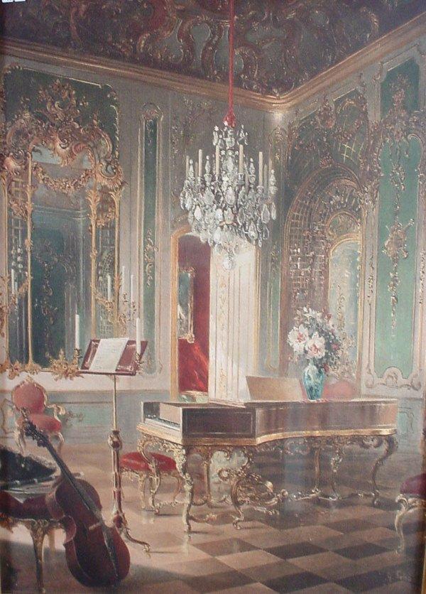 8: Rococo interior scene, color print. First half 20th