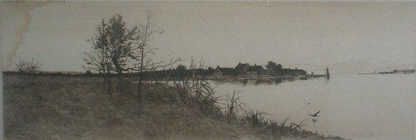 "9: ""Field"" Original signed Engraving. Shoreline with bu"