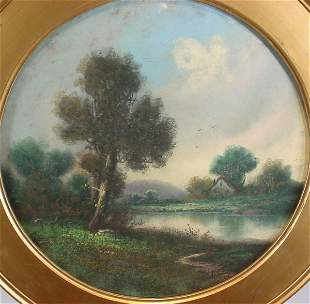 19th c American Landscape, pastel on paper. Signed