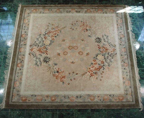 503: Fine Hand Woven Silk Carpet with a floral medallio