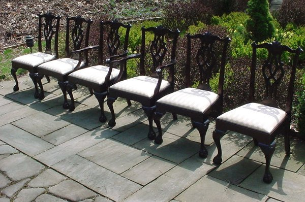 507: Stickley Set of Six Carved Mahogany Dining Chairs