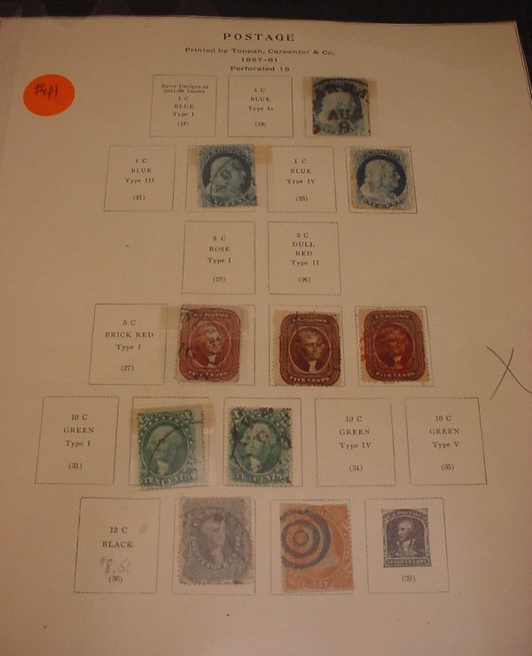 2041: 10 early different US stamps 1857-1861 cancelled