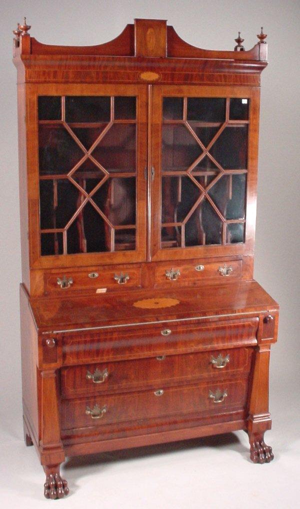 1080: Ca. 1825 American Secretary Desk with satinwood i