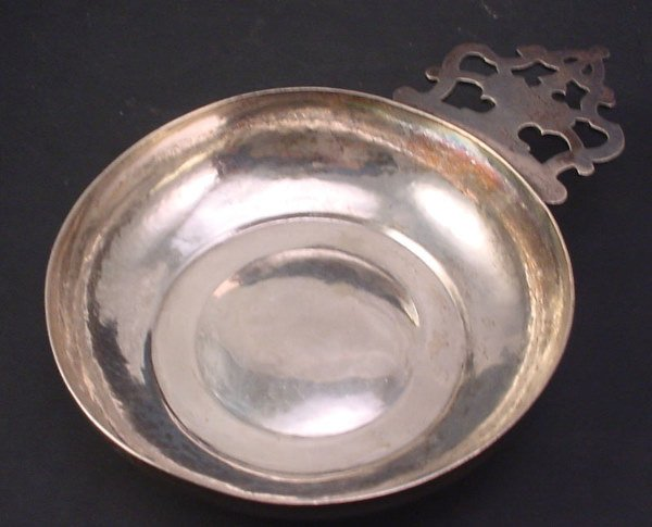 """1006: Early Silver Porringer. Hand wrought. Marked """"LC"""""""