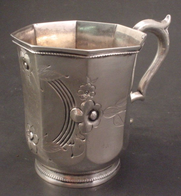 """1007: Sterling Mug with inscription. """"To Mary Louisa fr"""