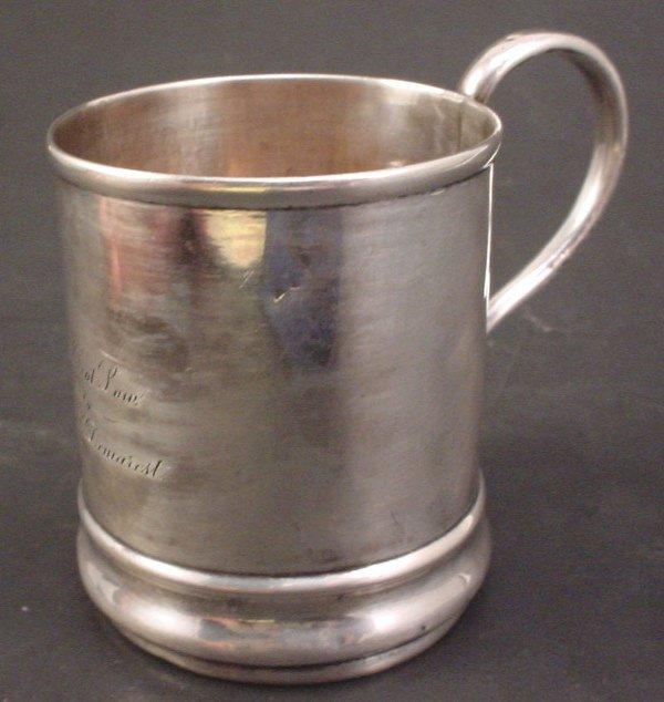 "1008: Sterling Mug with inscription. ""Frank Eliot Low t"