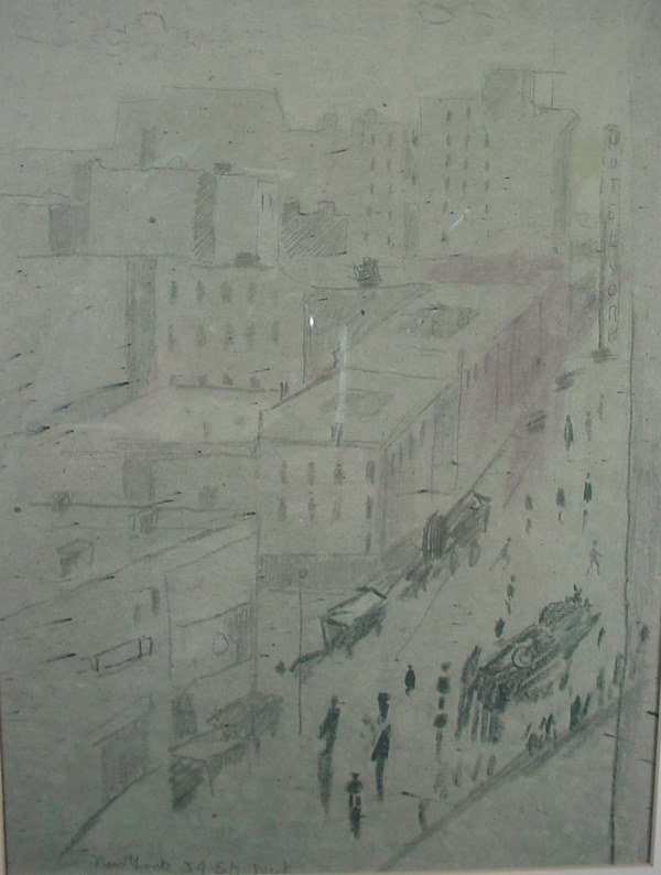 1142: Original Pencil and Charcoal Drawing. Cityscape,