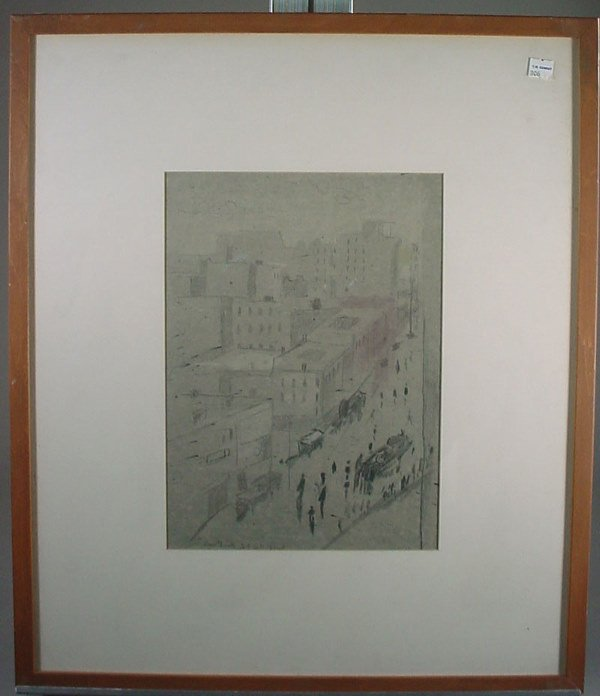 1142: Original Pencil and Charcoal Drawing. Cityscape, - 3