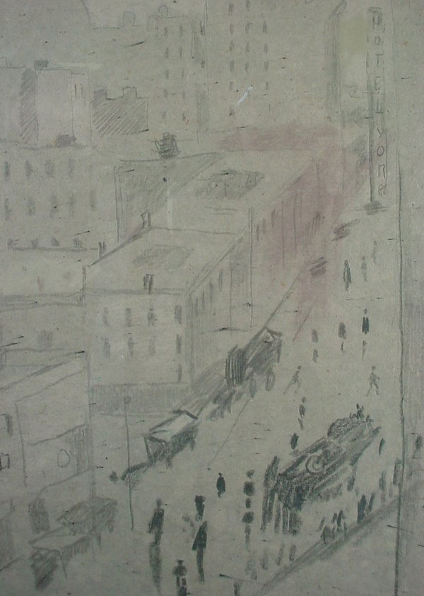 1142: Original Pencil and Charcoal Drawing. Cityscape, - 4
