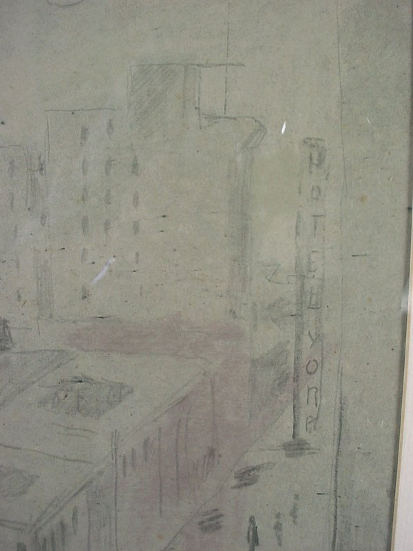 1142: Original Pencil and Charcoal Drawing. Cityscape, - 5