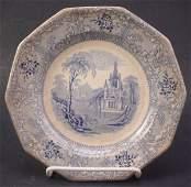 1357: Davenport Ironstone Blue Transferware Plate in th