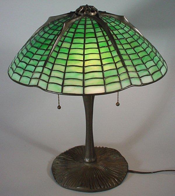 "55: ""Tiffany Studios"" Signed Spider web Lamp"