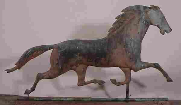 Antique Trotting Horse Weathervane. J.W. Fiske?