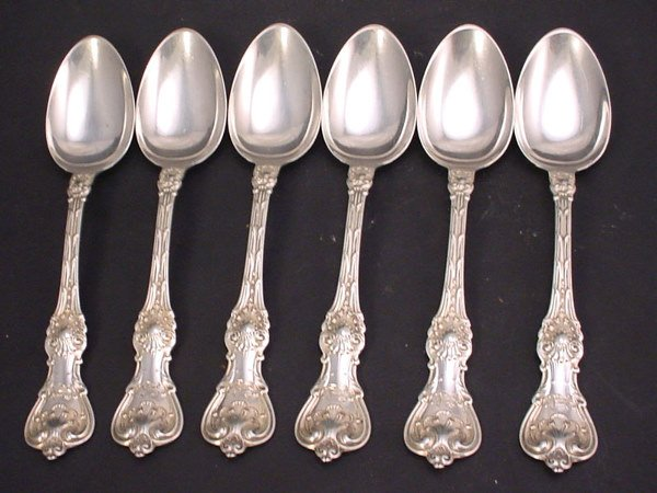 4: Sterling silver set of six teaspoons with monograms.