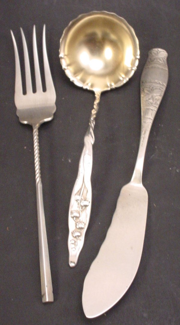 """6: """"Whiting"""" sterling silver flatware. Three pieces inc"""
