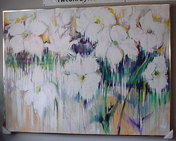 """1001: """"G. Muck"""" large floral acrylic painting"""