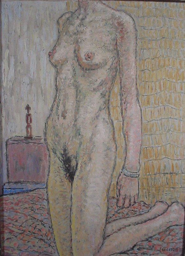 "1004: ""Weston"" Oil painting on canvas, nude"